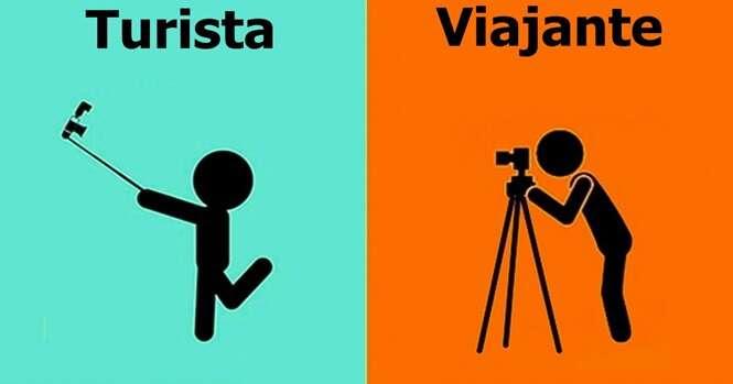 Ilustrações mostrando as diferenças entre turistas e viajantes