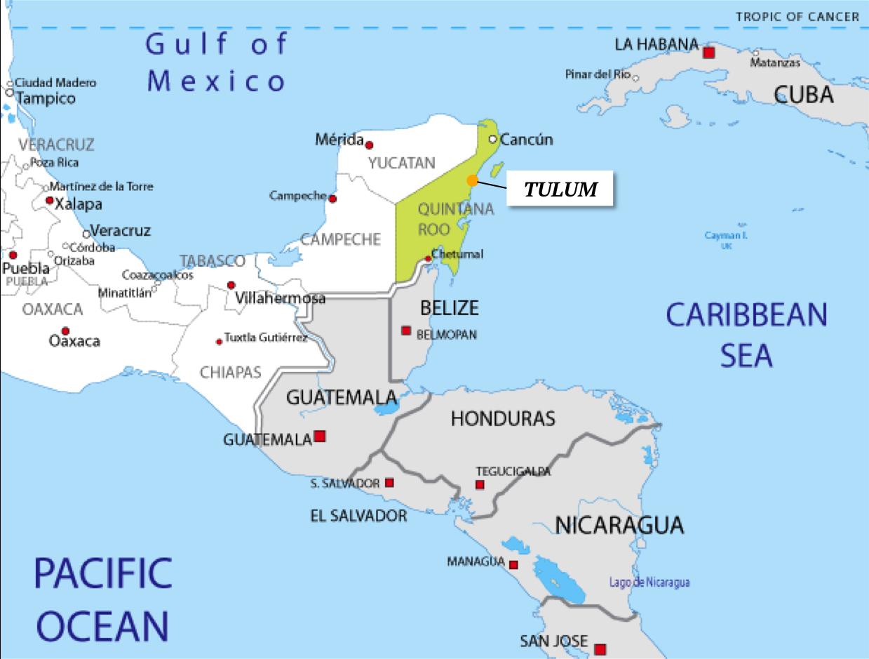 00 mapa tulum quintana roo peninsula yucatan mexico