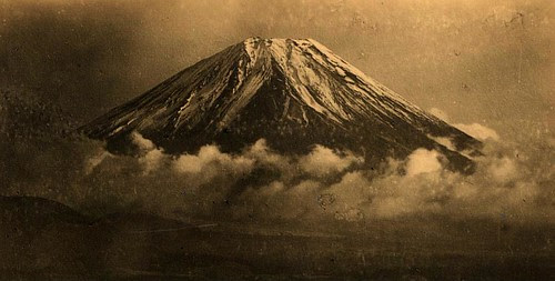 "SUNSET CLOUDS AT THE BASE OF FUJI  --  A Beat-Up ""Copy Print"" Photo Saved from an Earthquake by Okinawa Soba"