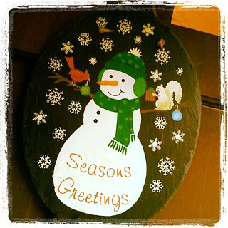 #SeasonsGreetings #Christmas slate #snow #snowman