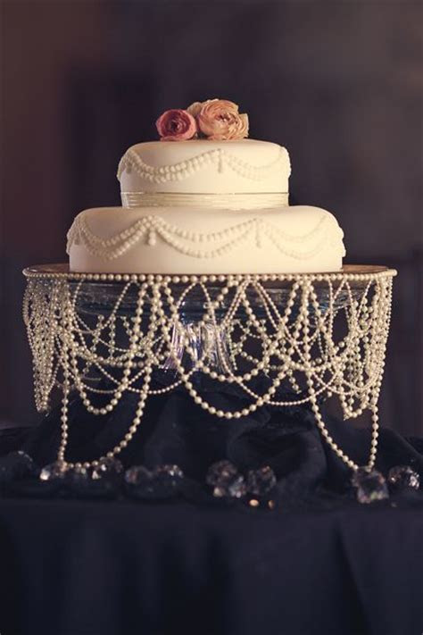 Pearl decorated wedding cake stand   WeddingElation