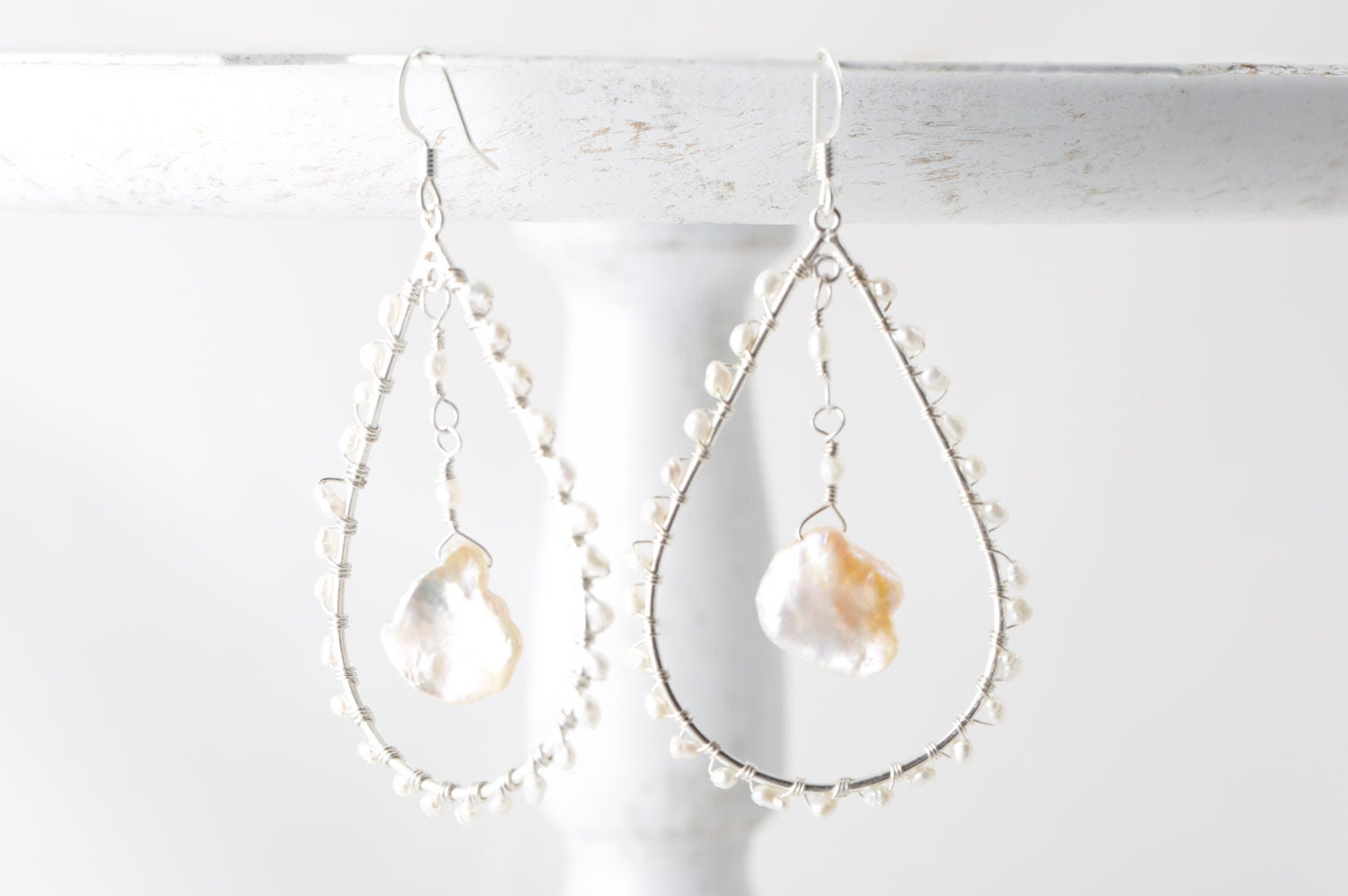 Keshi Pearl Blush Pink Wire Wrapped Sterling Silver Earrings - LoveActuallyJewelry