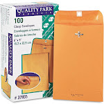 Quality Park 28 lb - Envelope - booklet - No. 55 - US No 6 1/2 (6 in x 9 in) - wallet - open end - clasp - brown - pack of 100