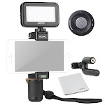 Movo Smartphone Video Kit V5 with Grip Rig, Mini Microphone, LED Light & Wireless Remote - for iPhone 5, 5c, 5S, 6, 6s, 7, 8,