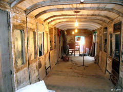 Inside the current restoration project. Brake carriage is empty. Paintwork is pealing