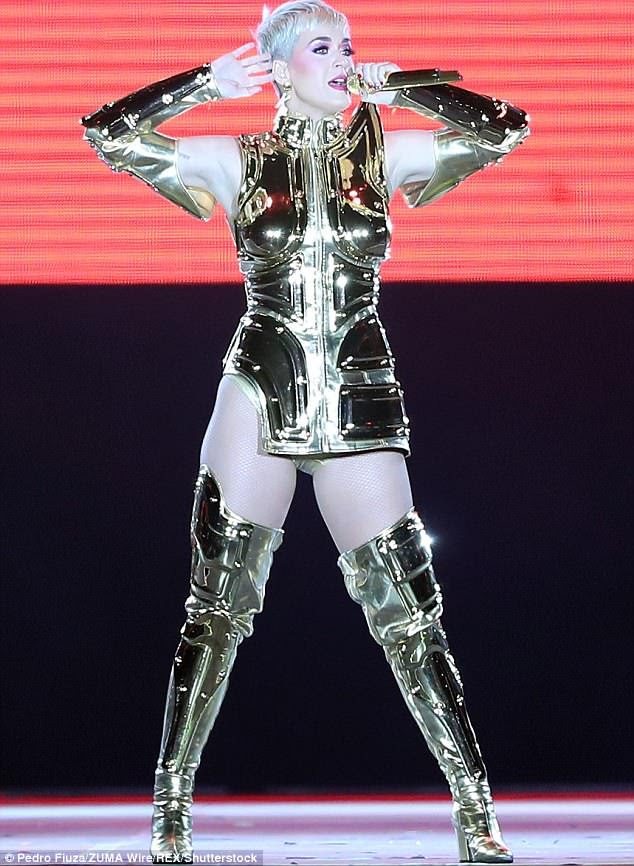 Pit stop: Katy Perry, 33, managed to take a break from touring and stop by the Rock in Rio concert in Lisbon, Portugal on Saturday to perform