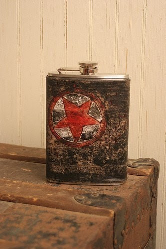 Lone Pattern Leather and Stainless Steel Flask - Black, White and Red