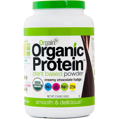 Orgain Organic Protein Plant Based Powder, Creamy Chocolate Fudge - 2.74 lb jar