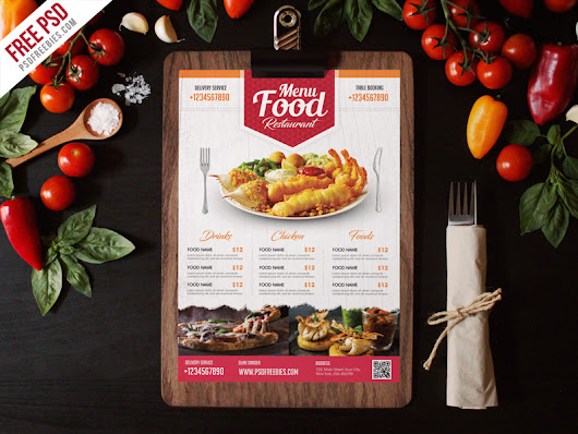 Simple Restaurant Food Menu Flyer Template PSD | PSDFreebies.com