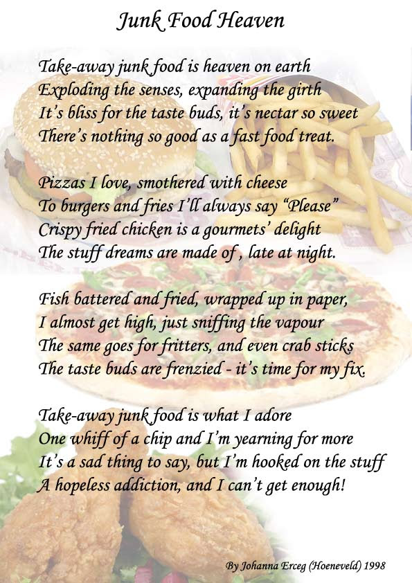 Junk Food Heaven Poem By My Sister All Types Of Poetry