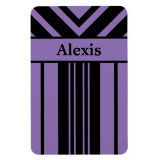 Black and Purple Stripes Chevrons with Your Name Rectangular Photo Magnet