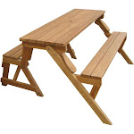 Merry Products Interchangeable Picnic Table Garden Bench, Beige