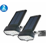 2pc 17 LED Solar Powered Motion Security Sensing Spotlight - Always On Soft Floodlight - Outdoor IP66 Waterproof, 360 Rotatable 1400LM Floodlight