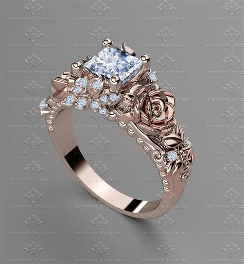 'Rosa Del Amor' 1.20ct Princess Cut Rose Gold Engagement Ring