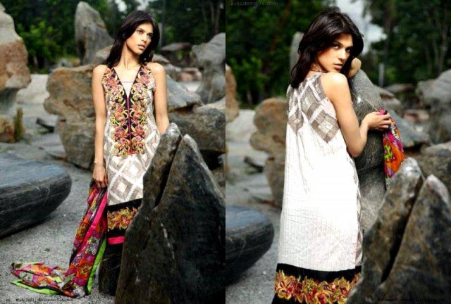Beautiful-Cute-Girls-Models-Wear-Summer-Eid-Dress-Collection-2013-Lakhani-Silk-Mills-3