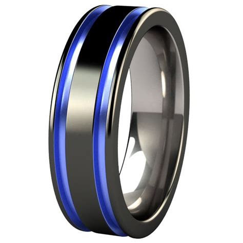 black and blue men's wedding band   Abyss Black Diamond