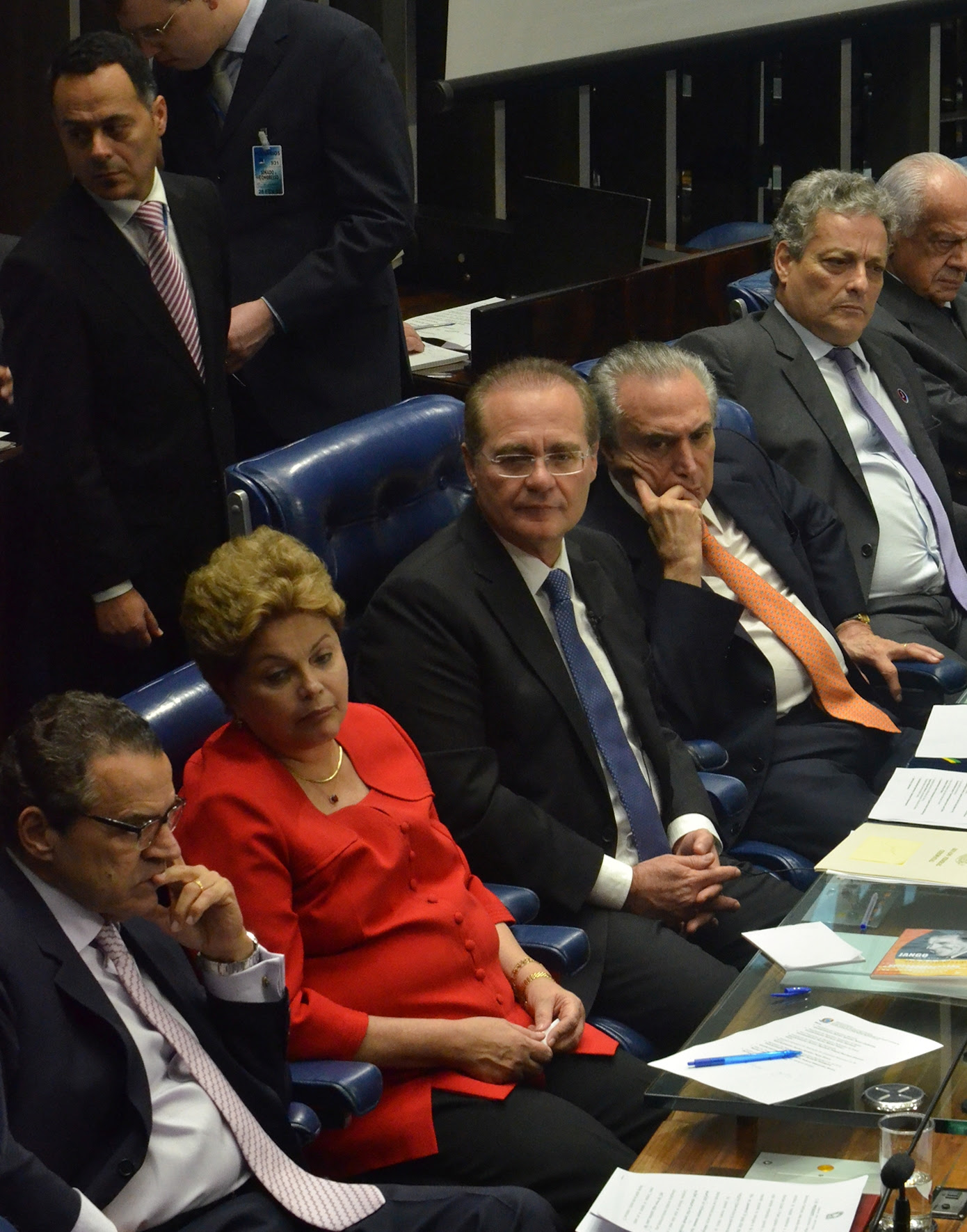 Alves, Rousseff y Calheiros en el Congreso