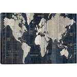 iCanvas Wac1993-1pc3-18x12 Old World Map Blue by Wild Apple Portfolio Canvas Print