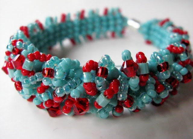 Caterpillar Bracelet - Turquoise and Red Swarovski Accented Beadwoven No-No Bracelet - Southwest Dreams READY TO SHIP - BeadedTail