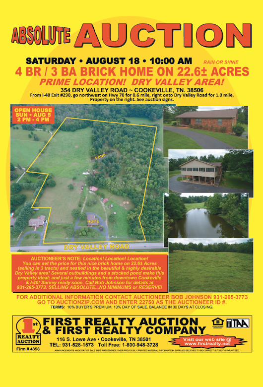 FIRST REALTY ABSOLUTE AUCTION — SAT. AUGUST 18, 2018 @ 10 AM CDT - AuctionsAcrossTN.com