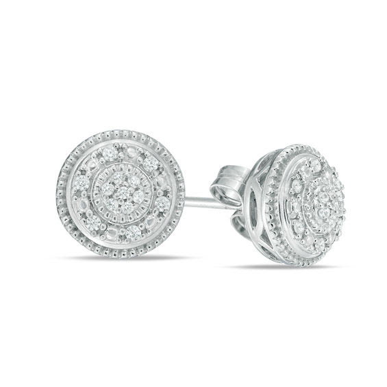 110 Ct Tw Composite Diamond Frame Vintage Style Stud Earrings In