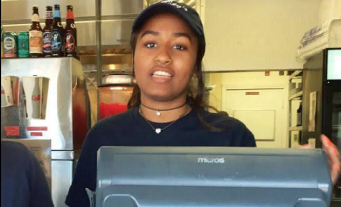 Sasha foi contratada para emprego temporário em restaurante. Foto: Facebook/Reprodução