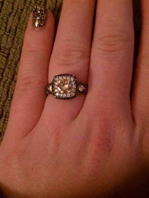 Black, White and Chocolate Diamond Engagement Ring