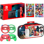 Nintendo Switch Mario Kart 8 and Odyssey Deluxe Bundle: Red and Blue Joy-Con 32GB Console, Red and Green Joy-Con Grip Set of 4, Super Mario Odyssey,