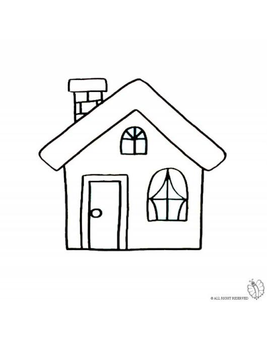 Disegno di casa con camino da colorare disegnidacolorare - Disegnare casa on line ...