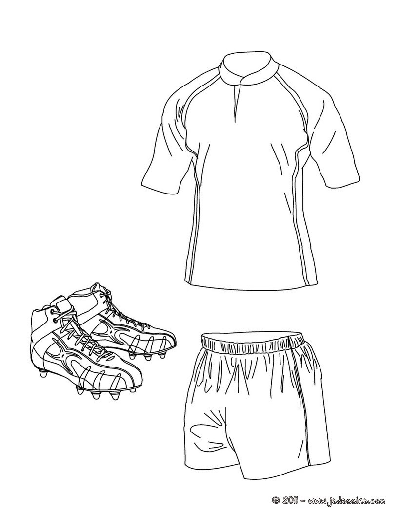 Coloriages Coloriage Du Polo Du Short Et Des Chaussures De Rugby