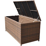 Style 4 ESPRESSO 64'' x 30'' x 30'' Large Wicker Storage Box Chest Deck Poolside Storing Patio Case