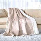 Fassbel Sherpa Throw Blanket Reversible Super Soft Lightweight Blanket Microfiber Warm All Season Blanket for Bed or Couch(50 inchx60 inch, Camel)