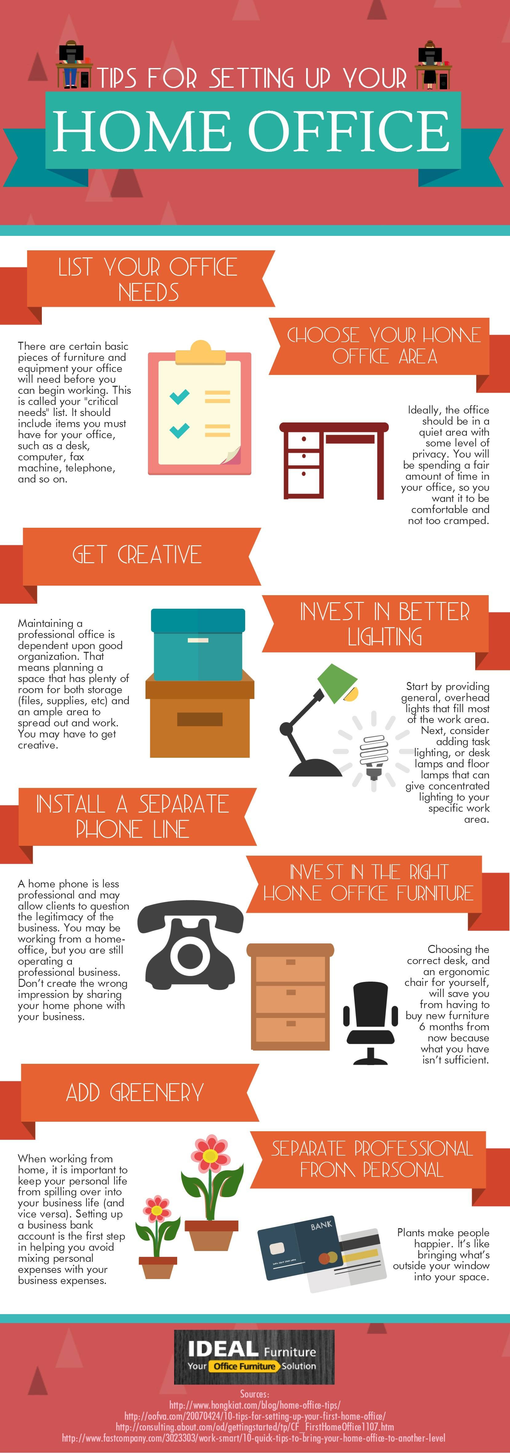 Infographic: Tips For Setting Up Your Home Office #infographic