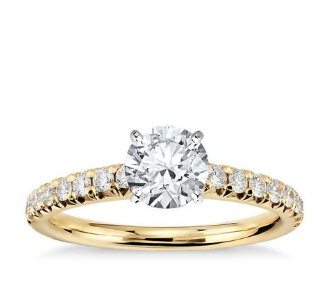 French Pavé Diamond Engagement Ring in 14k Yellow Gold (1
