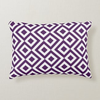 Purple and White Meander Accent Pillow