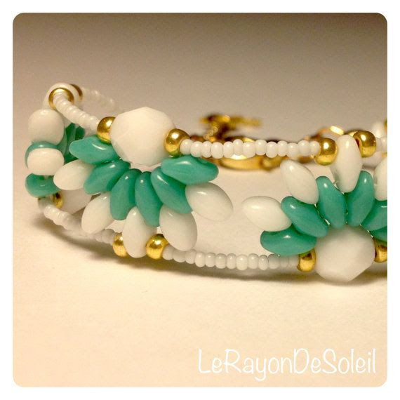 Man woman unisex bracelet SuperDuo emerald by LeRayonDeSoleil, €23.00