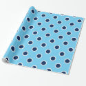Navy Polka Dot Pattern on Light Blue Gift Wrap