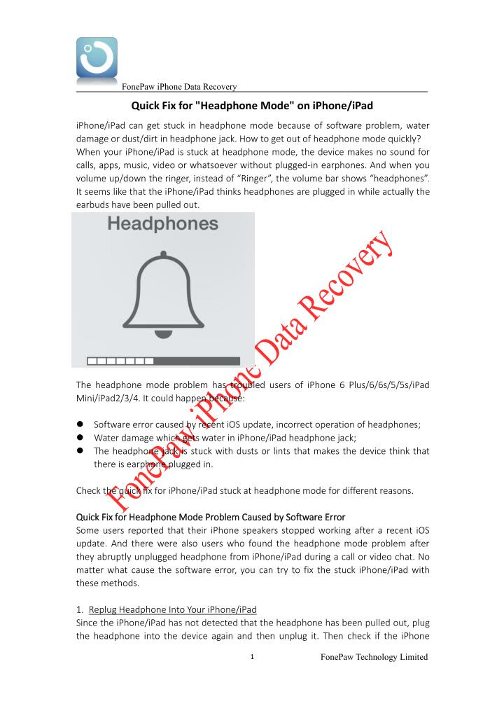 PPT  Quick Fix for Headphone Mode on iPhone\/iPad PowerPoint Presentation  ID:7539077