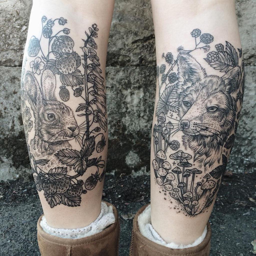 Tatuagens inspiradas na natureza combinam gravuras de estilo vintage de fauna e flora 01