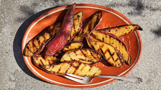 Charred Sweet Potatoes with Honey and Olive Oil Recipe