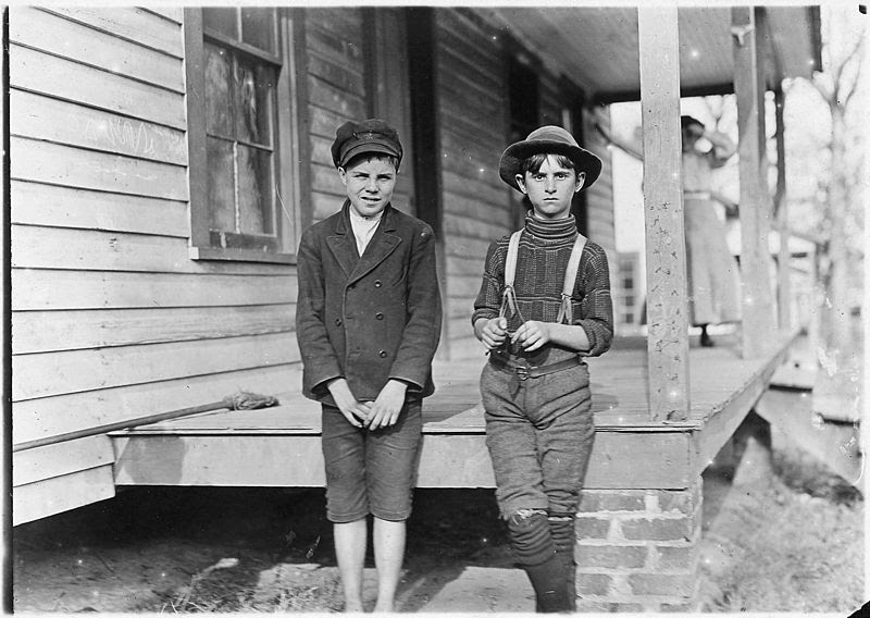 File:Springstein Mill. John Lewis (boy with hat), 12 years old, 1 year in mill. Weaver - 4 looms. 40 (cents) a day to... - NARA - 523117.jpg