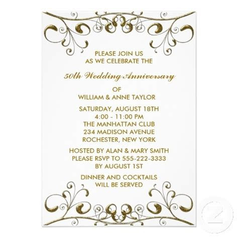 Gold Swirls 50th Wedding Anniversary Invitations   50th
