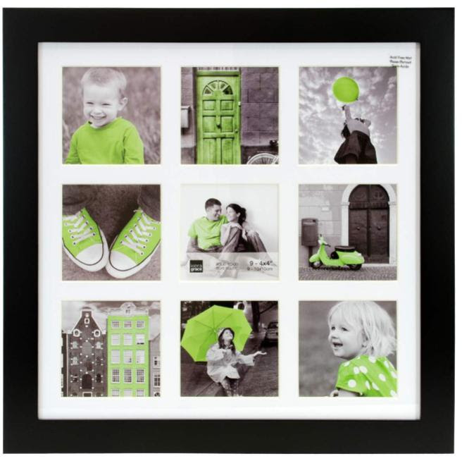Langford 14x14 Wood Collage Frame Black With White Mat 9 4x4