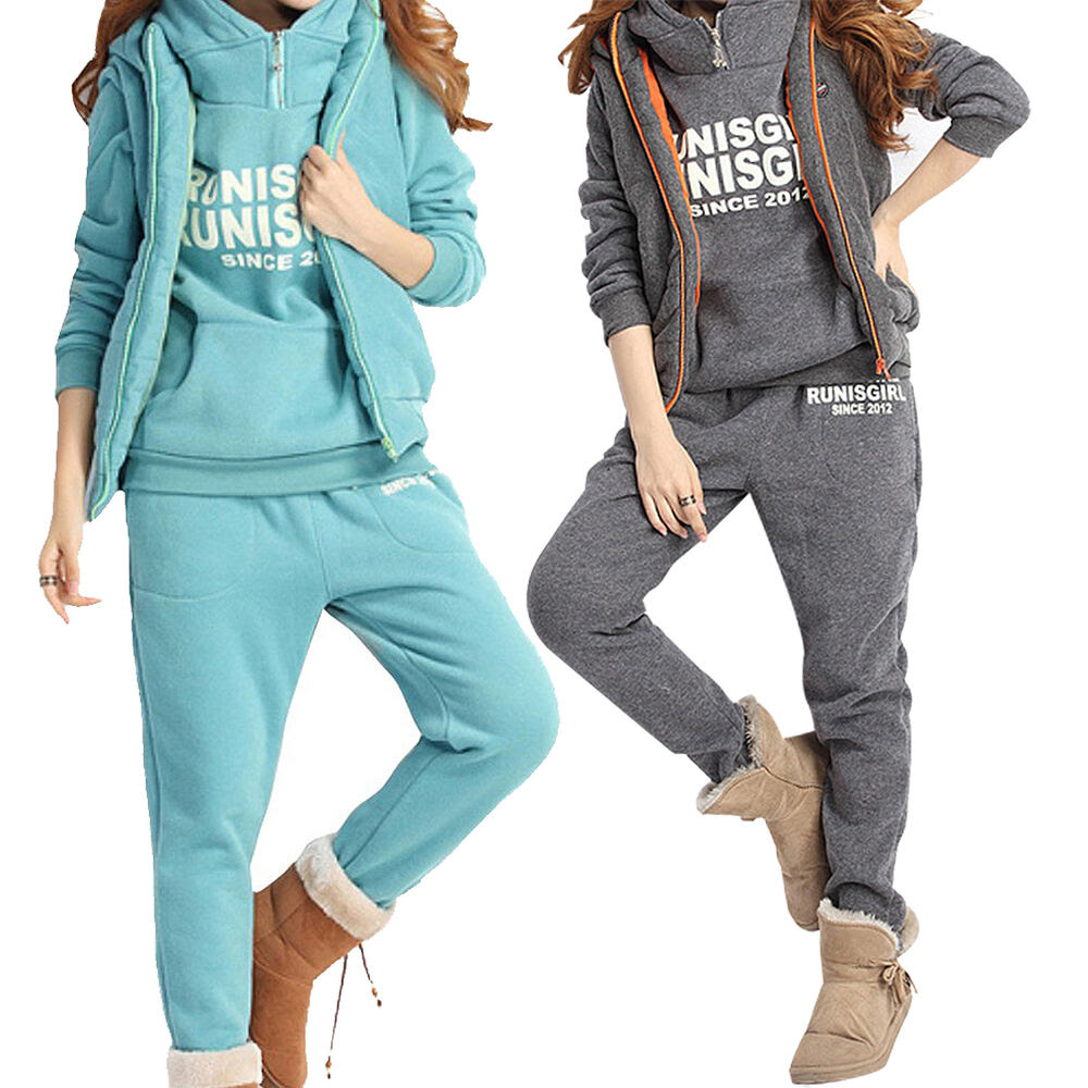 women sports hoodies coatvestpants 3pcs sweat suit