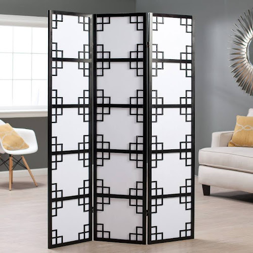 Google Express Finley Home 3 Panel Screen Room Divider Black