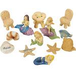 Juvale 13 Pcs Garden Fairy Kit for Lawn Decoration, Mermaids Miniature Resin Figurines