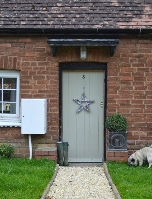 front door. Painted French gray farrow & ball.