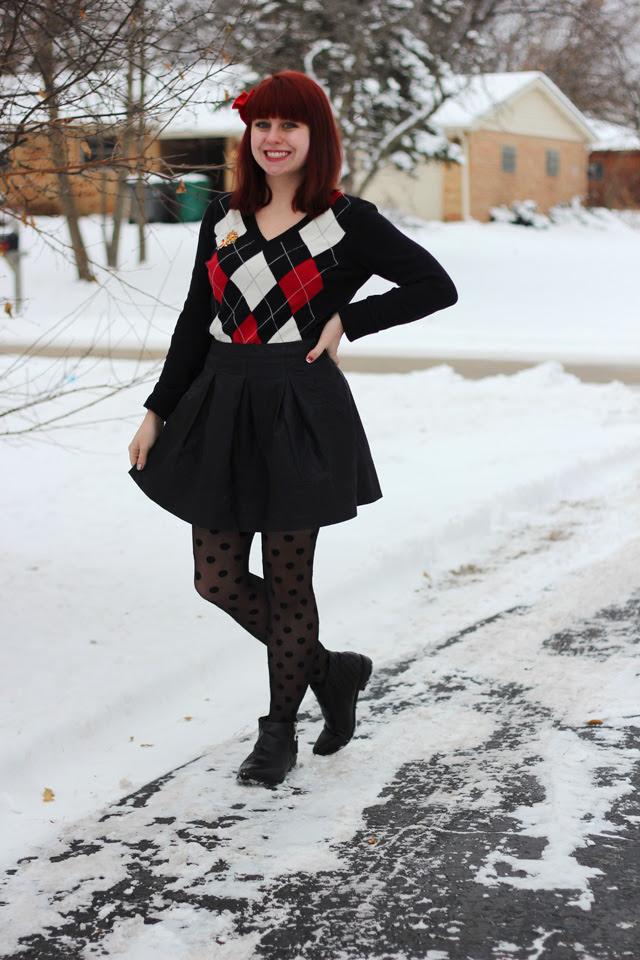 Argyle Sweater, Leather Skater Skirt, Polka Dot Tights, & Ankle Boots
