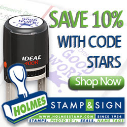 Save 10% with code STARS at Holmes Stamp & Sign