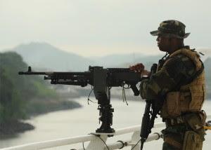 Colombian warship on maritime patrol.
